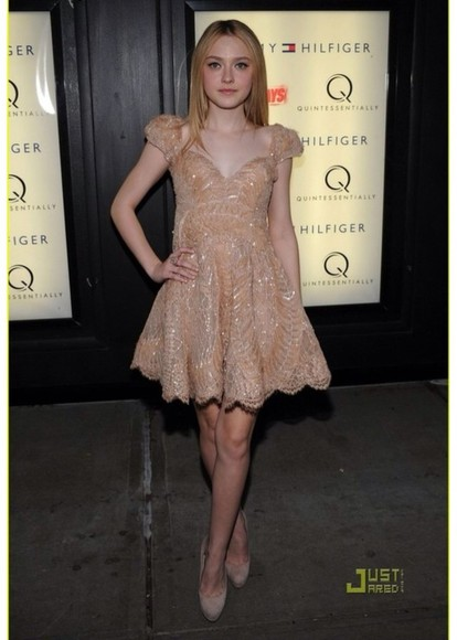dakota fanning dress beading sequin party dress classy classic short beige