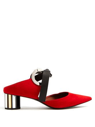 mules suede red shoes
