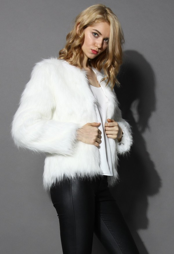 chicwish faux fur coat white coat coat