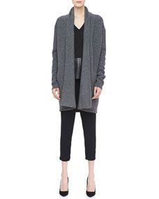 Vince textured knit open cardigan, suede/leather v
