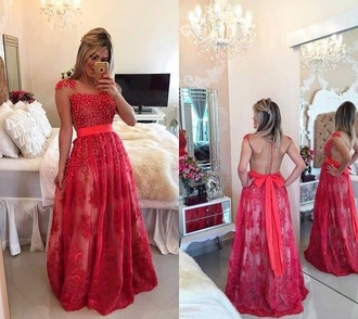 dress red dress lace dress pearl bow dress gown red prom dress prom dress
