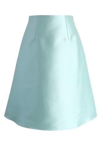 chicwish textured a-line skirt mint skirt