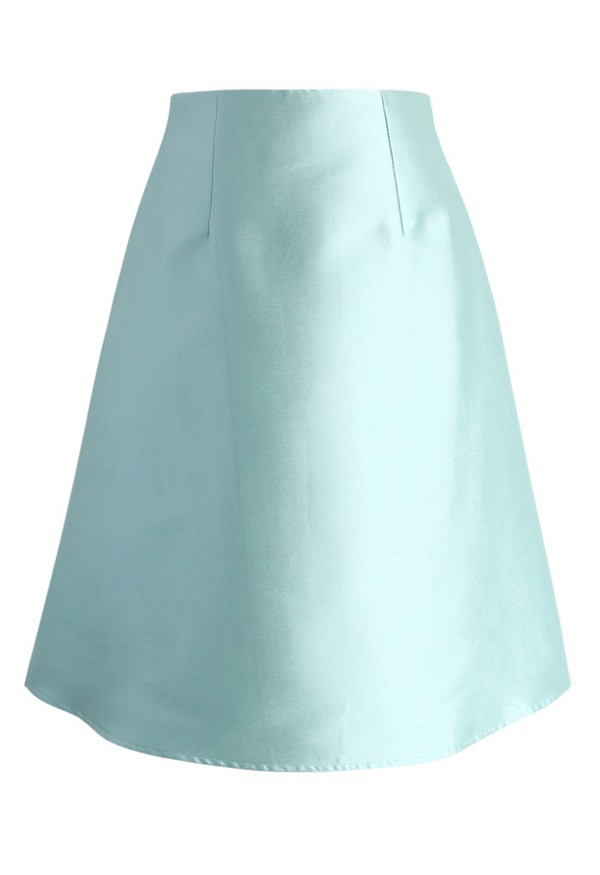 textured a-line skirt mint skirt chicwish