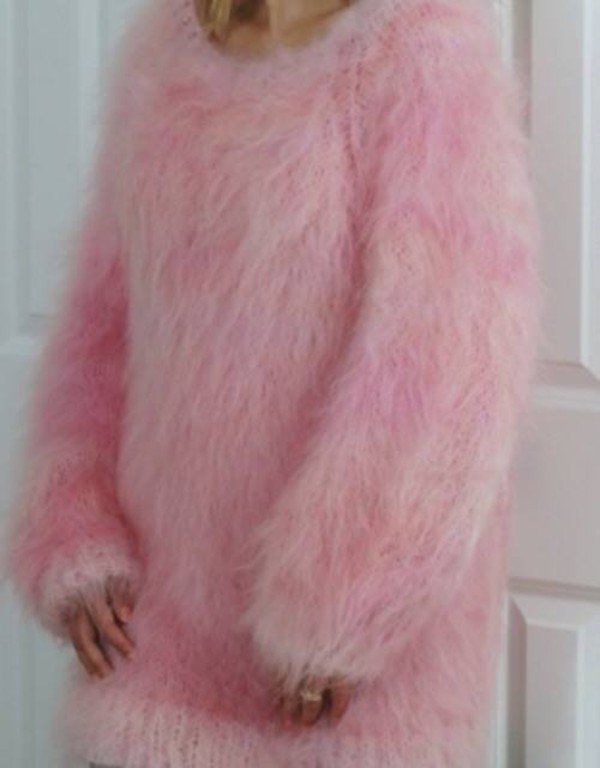 sweater pink fluffy pink fluffy baby pink pink sweater fuzzy sweater