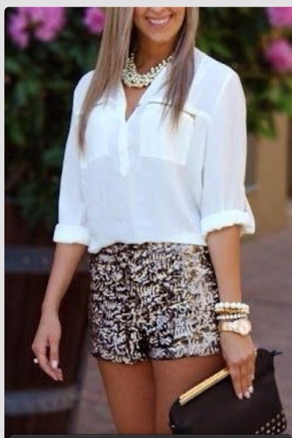 shorts shorts grey summer got white shirt sequins shirt