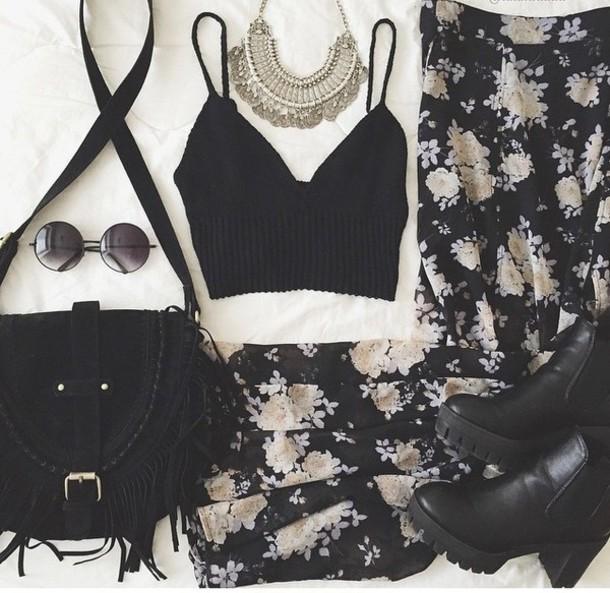 jeans floral floral tank top crop tops crop pants top bag jewels fashion clothes black dress black top black heels