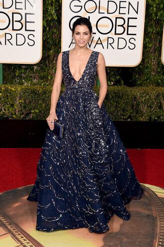 dress gown prom dress sparkly dress plunge dress jenna dewan clutch red carpet dress red carpet golden globes 2016 bag