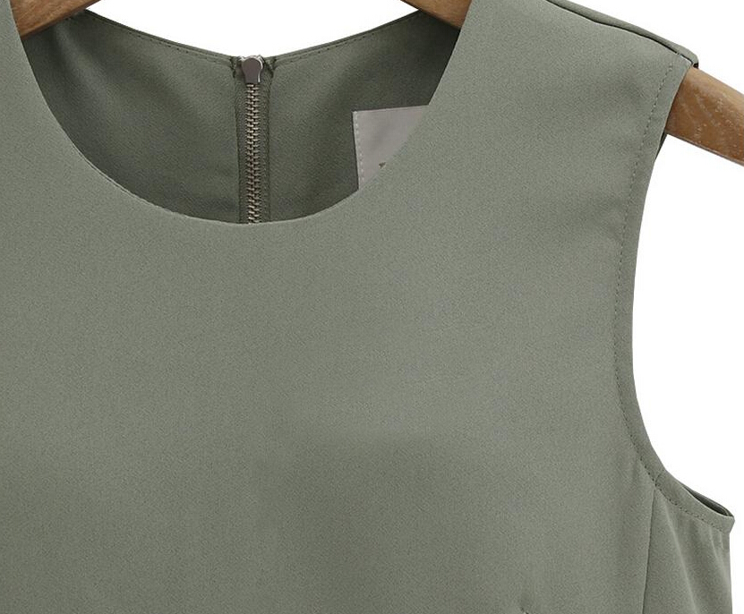 Army Green Sleeveless Zipper Pockets Jumpsuit - Sheinside.com