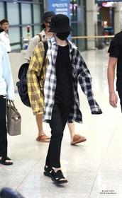 cardigan,bts suga,K-pop,flannel shirt,bts