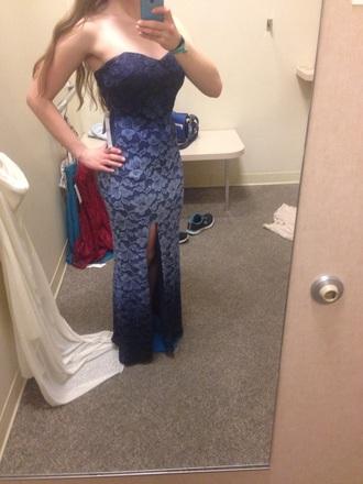 dress dark blue macy' lace flowers tight slit sexy prom dress tight dress prom gown