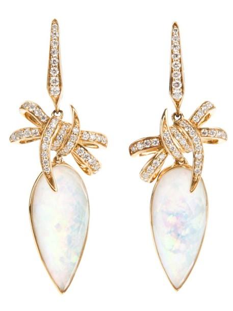 bow women earrings gold grey metallic jewels
