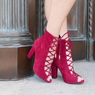 shoes oxblood red red shoes bootie chunky heels chunky sole gojane burgundy
