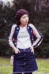 skirt,denim,beret,mini skirt,denim skirt,equality,t-shirt,white t-shirt,quote on it,jacket,bomber jacket