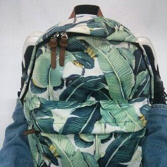 bag backpack print printed backpack printed bag banana leaves leaves floral green green bag fusion rucksack