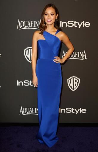 dress gown blue dress blue prom dress jamie chung golden globes 2015
