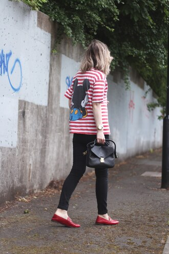 t-shirt tumblr stripes striped t-shirt denim jeans black jeans bag black bag loafers red loafers disney mickey mouse shoes