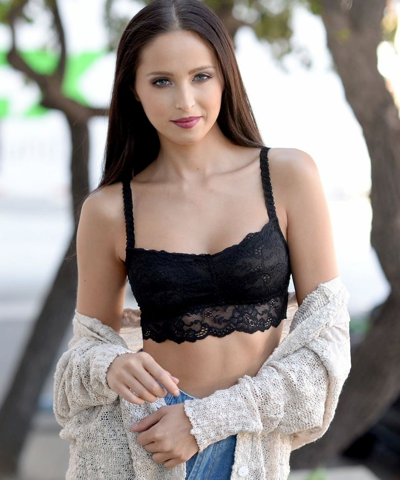 Black lace bra top
