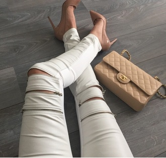 pants white leather jeans zip bag shoes