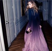 dress,ombre dress,purple,prom,gown,maxi,ombre,beautiful,prom dress,fairy tale,celebrity style,celebrity,elegant dress,elegant,wonderful dresses,wonderful,dip dyed,love,lovely,ombre long sleeve dress,dark blue to light purple ombré