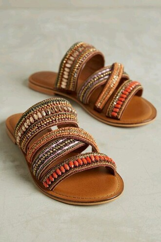 shoes sandals summer hippie gypsy african moroccan colourful