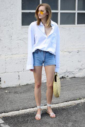 shorts tumblr denim denim shorts sandals flat sandals bag tote bag round tote shirt white shirt sunglasses shoes