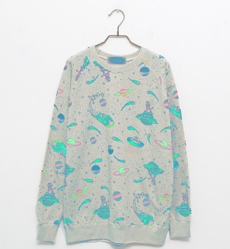 sweater space universe print tumblr planets pastel blue neon winter outfits fall outfits cold nice rocketship