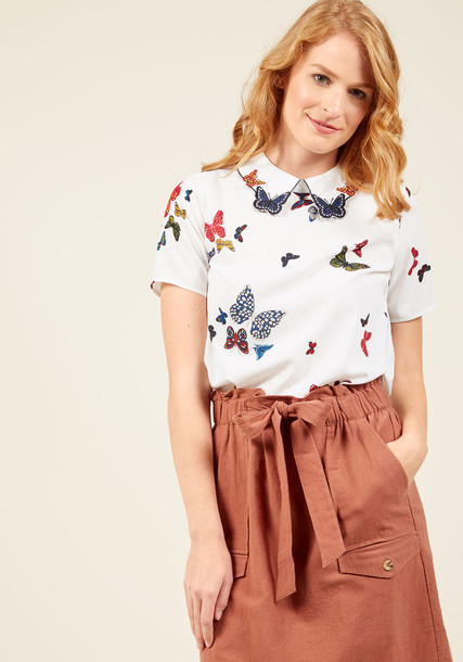 Dka0805 blouse white blouse embroidered butterfly white print top