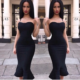 bustier dress mermaid prom dress bodycon dress cocktail dress sexy dress club dress black dress strapless bandage dress party dress fall outfits style fashion new year s eve date outfit little black dress classy all black everything