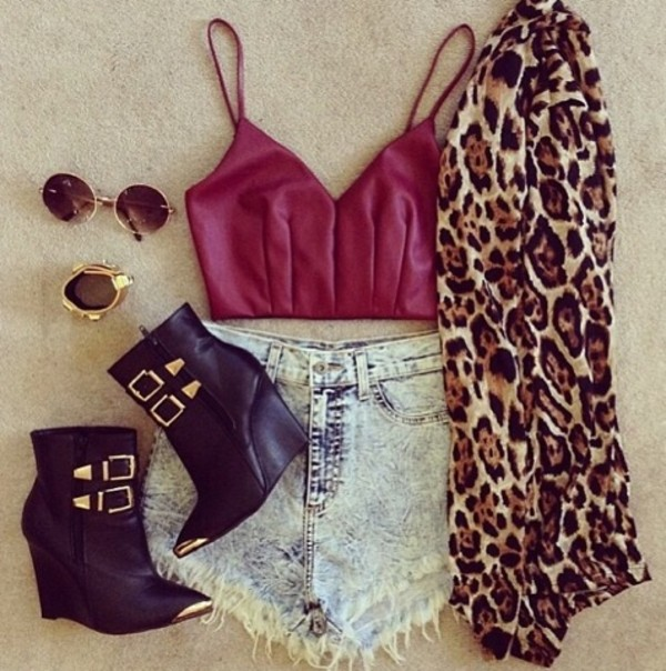 shorts crop tops High waisted shorts high heels coat jewels sunglasses tank top swimwear shoes sweater