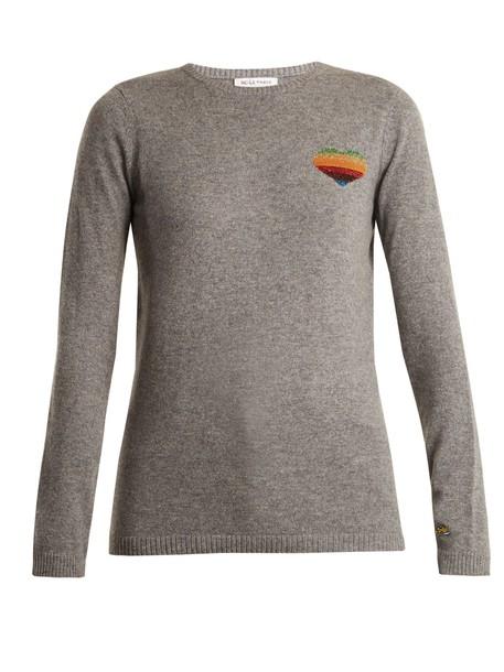 Bella Freud sweater heart light grey