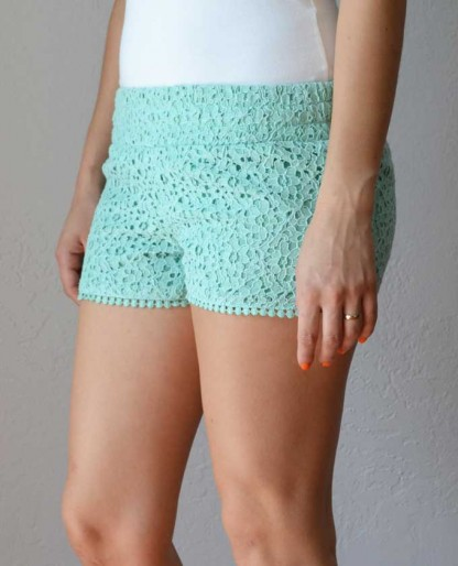 Trendy Clothing, Fashion Shoes, Women Accessories | Haidee Crochet Shorts in Mint  | LoveShoppingMiami.com