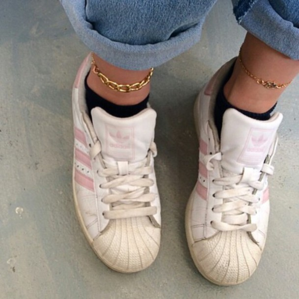 adidas superstar light pink and white