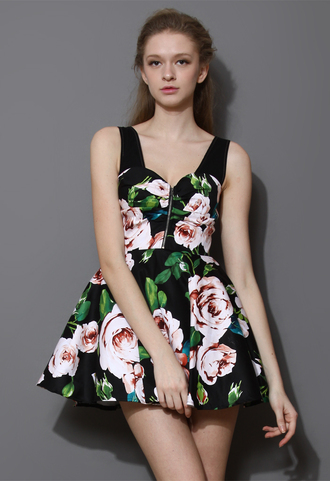 dress glamour blooming rose sleeveless skater