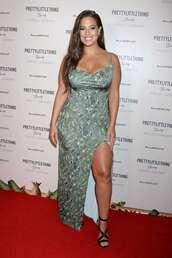 dress,ashley graham,plus size dress,plus size,model off-duty,slit dress,celebrity