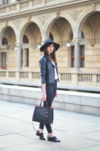 vogue haus blogger shirt hat leather jacket jacket jeans shoes bag jewels