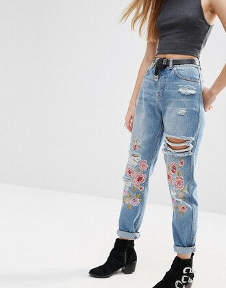 jeans embellished denim ripped jeans