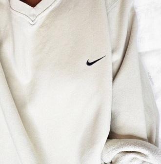 shirt white v neck nike crewneck sweatshirt sweater