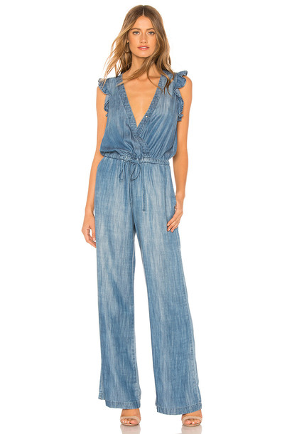 Bella Dahl Ruffle Wide Leg Jumpsuit in blue