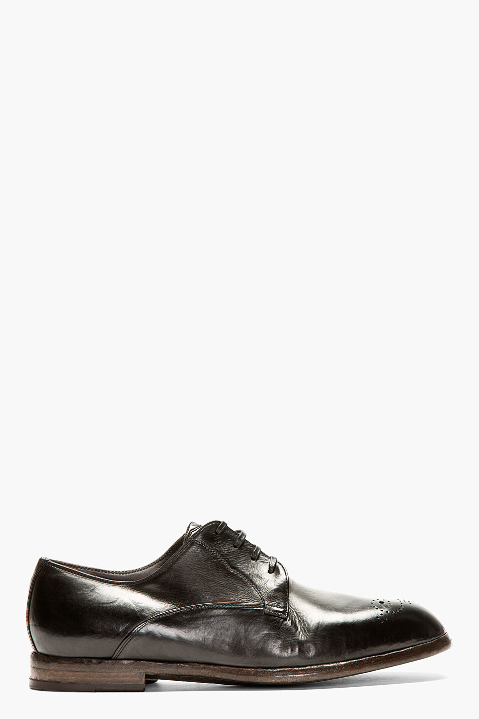 Dolce and gabbana black leather derby shoes