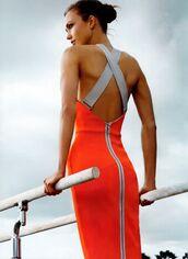 dress,victoria beckham dress,orange dress,bodycon dress,backless dress,open back dresses,karlie kloss,model,summer dress