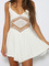 White plain hollowed waist sleeveless spaghetti strap short jumpsuit