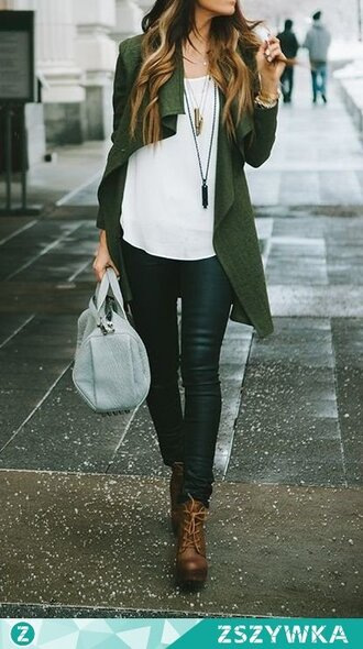 cardigan clothes girl fashion style outfit green white top blouse shirt brown bag green cardigan oversized cardigan knitted cardigan long cardigan white top white blouse white shirt black pants black high waisted pants leather pants black leather pants accessories necklace shoes boots ankle boots brown boots brown leather boots grey bag bags and purses
