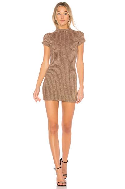For Love & Lemons dress metallic dress sparkle metallic knit bronze
