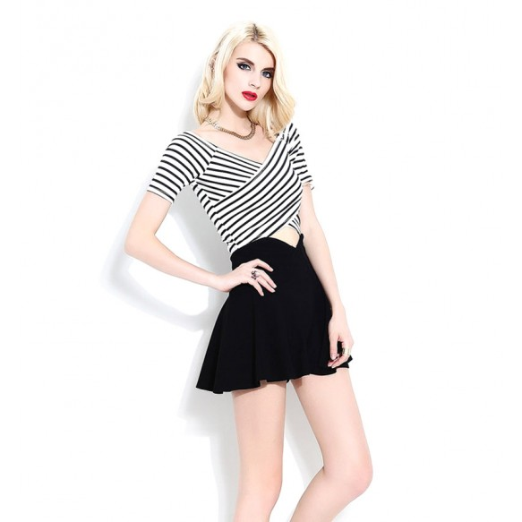 Striped T-Shirt With Twisted Front