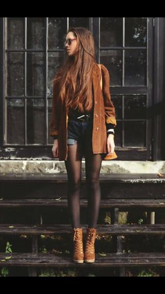 shoes brown shoes jacket brown leather jacket sunglasses tights high waisted short