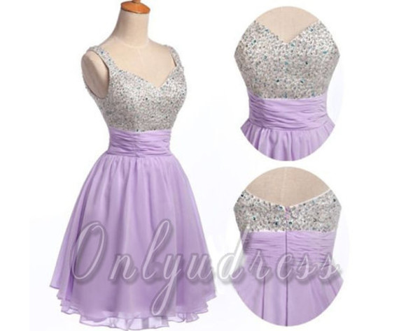 short dress chiffon dress beading dresses a line dress straps dresses lavender homecoming chiffon homecoming short homecoming lavender prom dress prom party dresses lavender short chiffon prom dress
