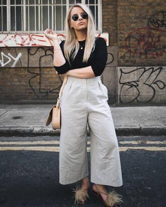 pants tumblr culottes nude pants wide-leg pants top black top bag shoulder bag