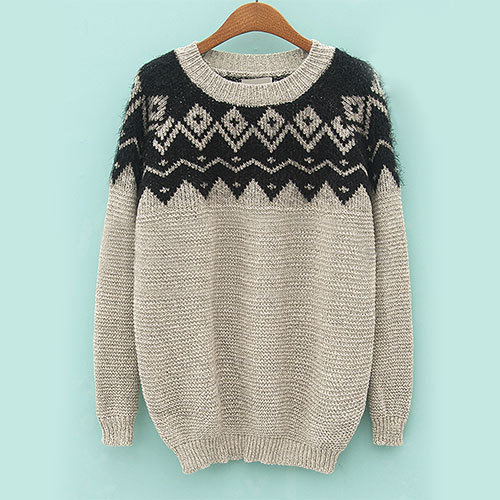 [grxjy560712]Contrast Color Zigzag Diamond Fuzzy Loose Preppy Sweater Pullover  / brashycouture