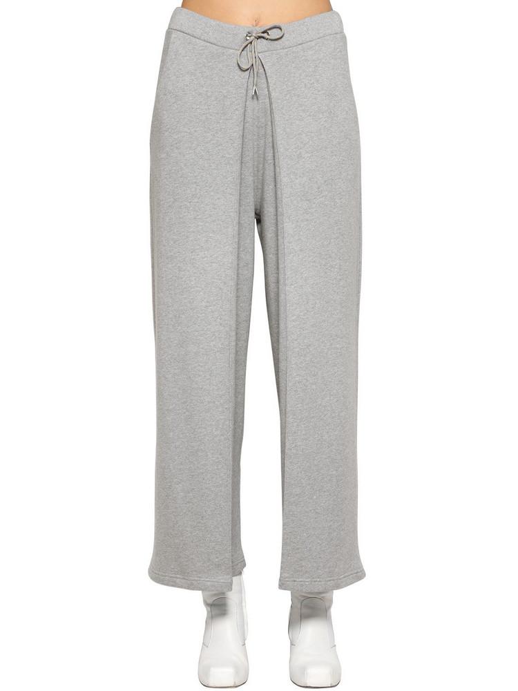 AALTO Fixed Pleats Cotton Jersey Sweatpants in grey