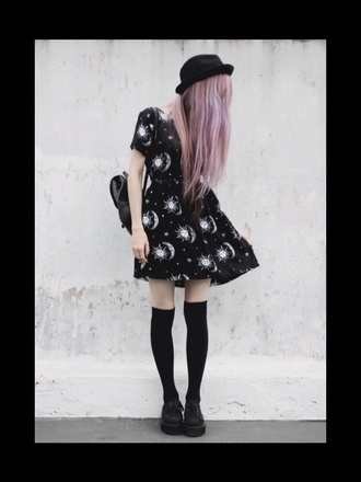 vintage style socks bag grunge moon dress hat black hairstyles shoes motel rocks